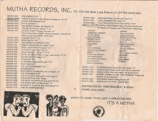 mutha records catalog, inside
