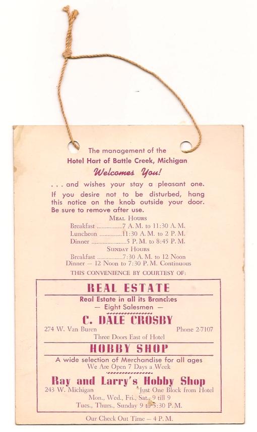Hotel Hart of Battle Creek, back of card