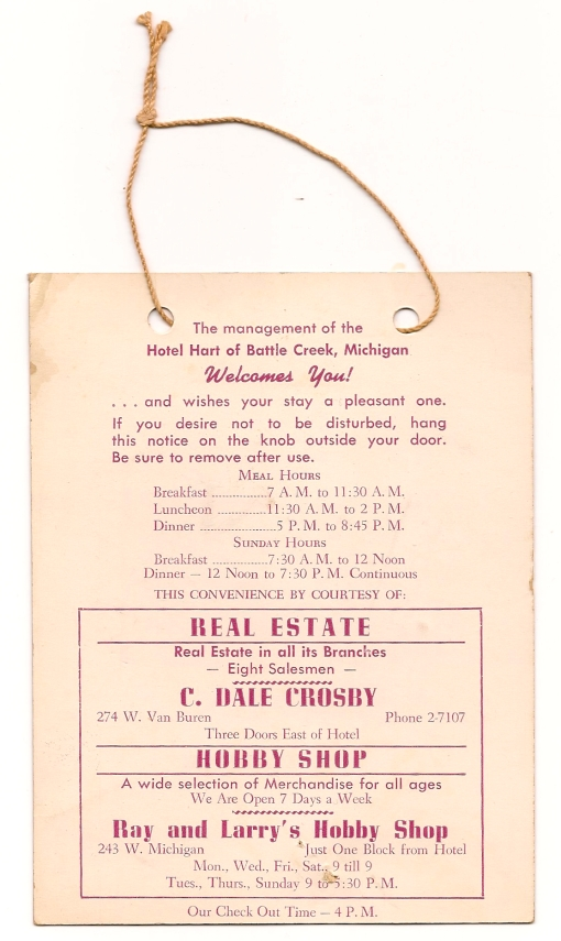 Hotel Hart of Battle Creek, back of card